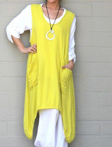 OH MY GAUZE Cotton Lagenlook BRAD Long VEST Curve Hem Tunic M/L/XL/1X Lemon LIME