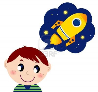 Cute boy dreaming about new spaceship.  cartoon Illustration