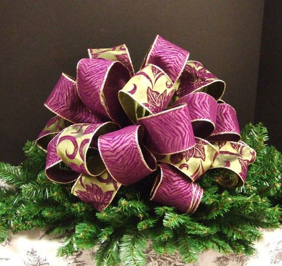 Christmas Bow Tree Topper, Christmas Tree Bow Topper, Sage Green And Purple  Ribbon,