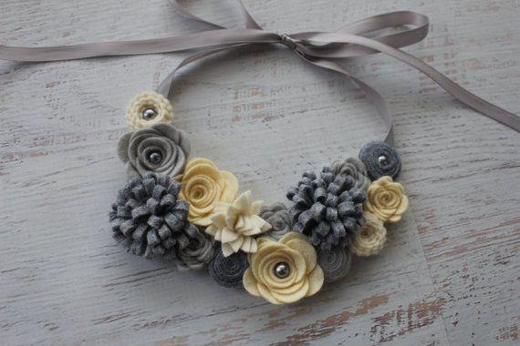 Wool Felt Flower Bib Necklace - Greys and Creams- Open Satin Ribbon Tieback