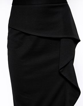 Image 3 of ASOS Pencil Skirt In Ponte With Ruffle Front 40