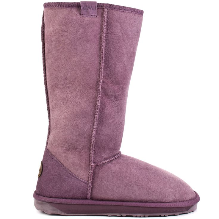 Don't settle for less - treat your feet to a pair of these luxe sheepskin boots from the footwear experts at Emu. Stinger is a aubergine knee boot in the classic Australian -ugg- style made from the softest, highest quality Australian sheepskin from top to toe. A flat rubber sole ensures your walking comfort.