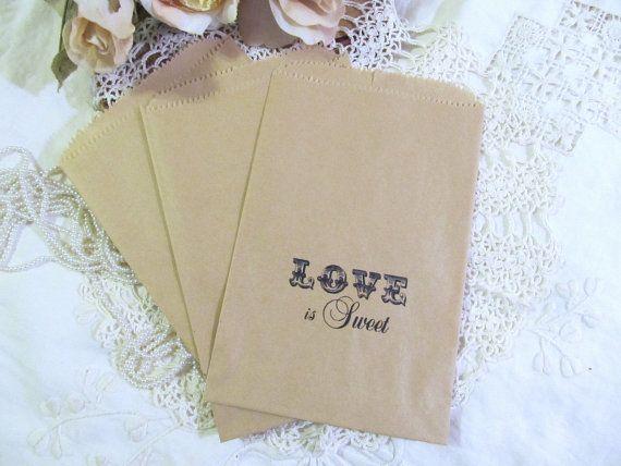 Love is Sweet Kraft Gift Wedding Favor Treat by auntiesjammies, $7.50