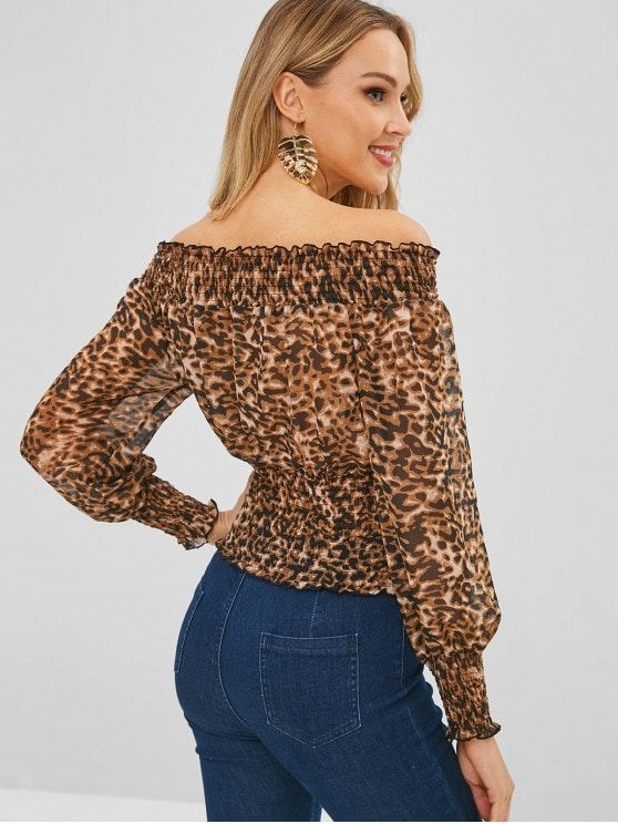 090ae5dce1d Off Shoulder Leopard Print Smocked Blouse in 2019 | Animal Print ...