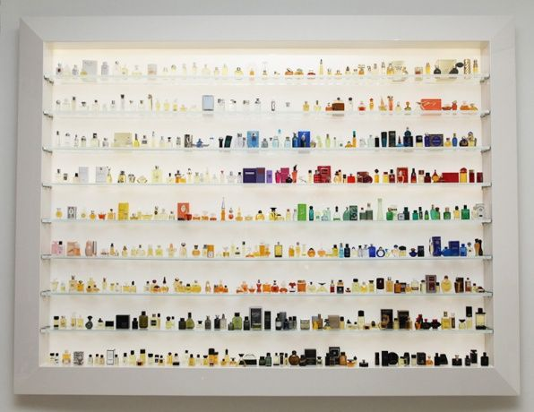 Vintage perfume bottle collection at Osswald Boutique in SoHo.