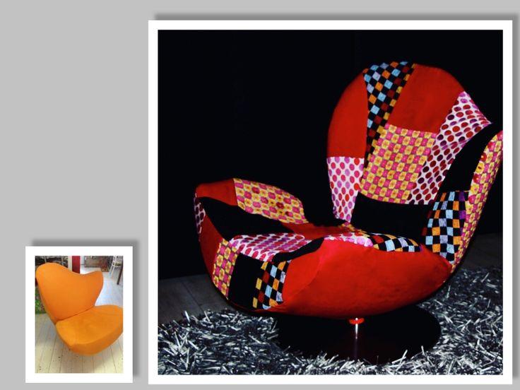 Nu weer te koop, Esprit Wave stoel met nieuwe hoes van patchwork. Uniek!!!