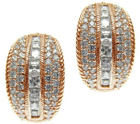 Judith Ripka 14K Rose Gold-Clad Hoop Earrings