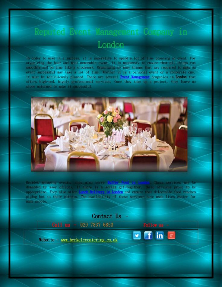 Reputed Event Management Company in London  Organizing so many things that are required to make an event successful may take a lot of time. Whether it is a personal event or a corporate one, it must be meticulously planned. Berkeley Catering, Event Management companies in London that offer high-end, highly professional event management, party organizer, and Barbecue events London services.