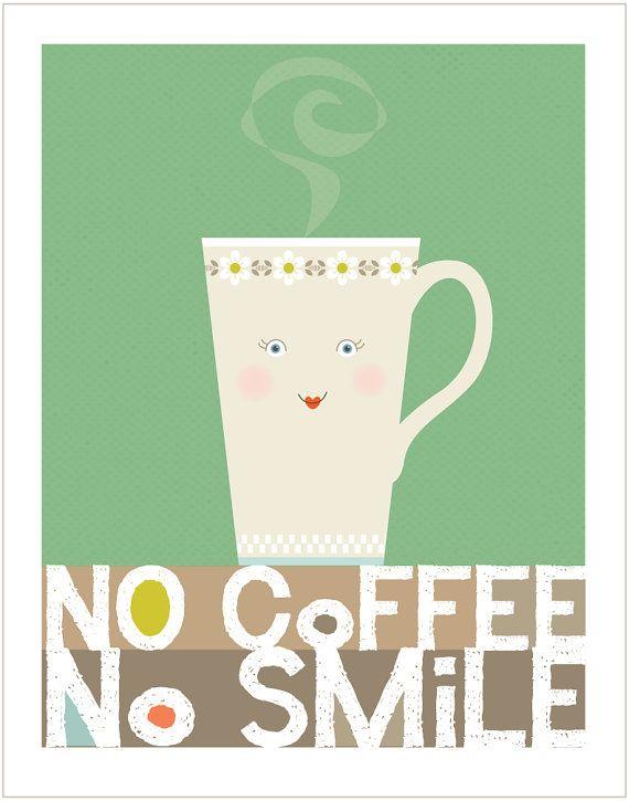 No Coffee No Smile Original Illustration  by cbycdesignstudio...:)