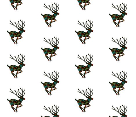 Woodlands_Stag fabric by quirky_happy_art on Spoonflower - custom fabric ~ wall paper ~ gift wrap