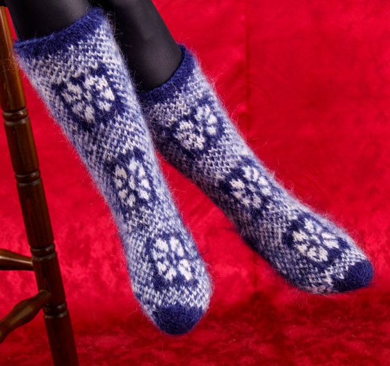 Icelandic blue and white thick and fuzzy hand knitted mohair socks leg warmers by SuperTanya