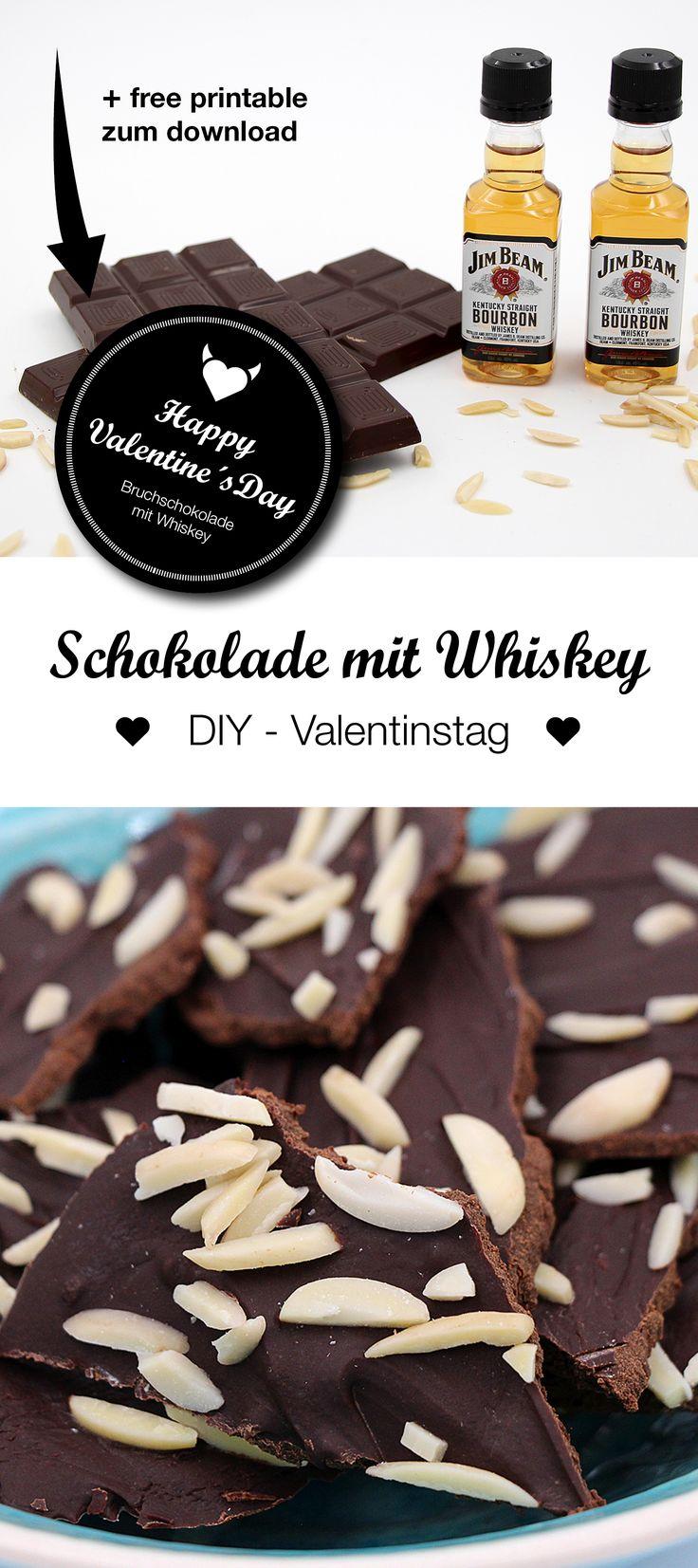 DIY Valentinstag Geschenk: Leckere Selbst Gemacht Bruchschokolade Mit Jim  Beam Whiskey. Cooles DIY Valentinstag