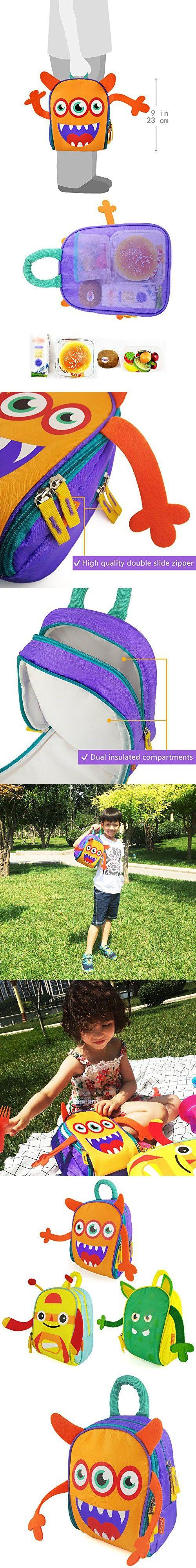 Zebrum Insulated Kids Lunch Box for School Boys &Girls with Dual Compartments, Kindergarten Kids Lunch Bag, Cute Cartoon Monster (Orange &Purple)