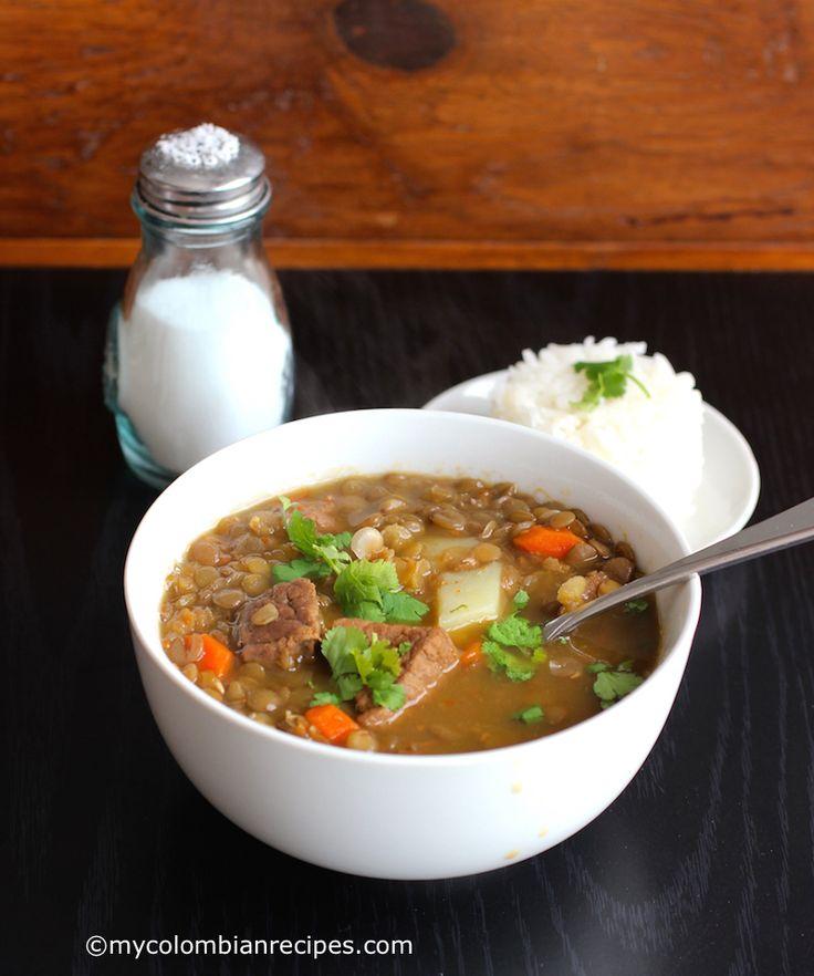 Sopa de Lentejas con Carne (Lentils and Beef Soup)  mycolombianrecipes.com