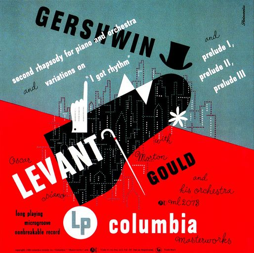 """Album jacket for Gershwin's """"Second Rhapsody for Piano and Orchestra / Variations on 'I Got Rhythm' / Preludes 1, 2, 3"""" (1950 ) designed by art director & graphic designer Alex Steinweiss (1917-2011). via Art & Artists"""