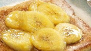 Wentelteefjes met hazelnoot en gebakken banaan