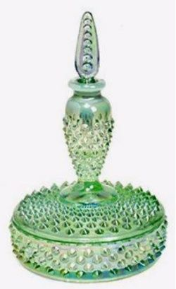 Fenton Vanity Boxtle in Willow Green Opalescent.: Scented Bottle, Vanities Boxes, Purfum Bottle, Perfume Bottle, Frasco Perfume, Vanities Bottle, Bottle Tops 2, Vanities Boxtl, Fenton Vanities