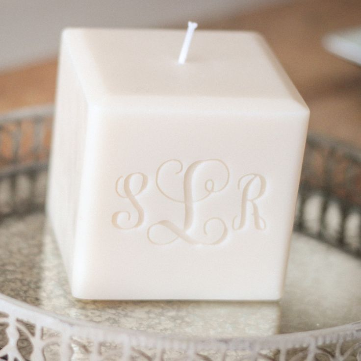 "monogrammed 3"" soy candle"