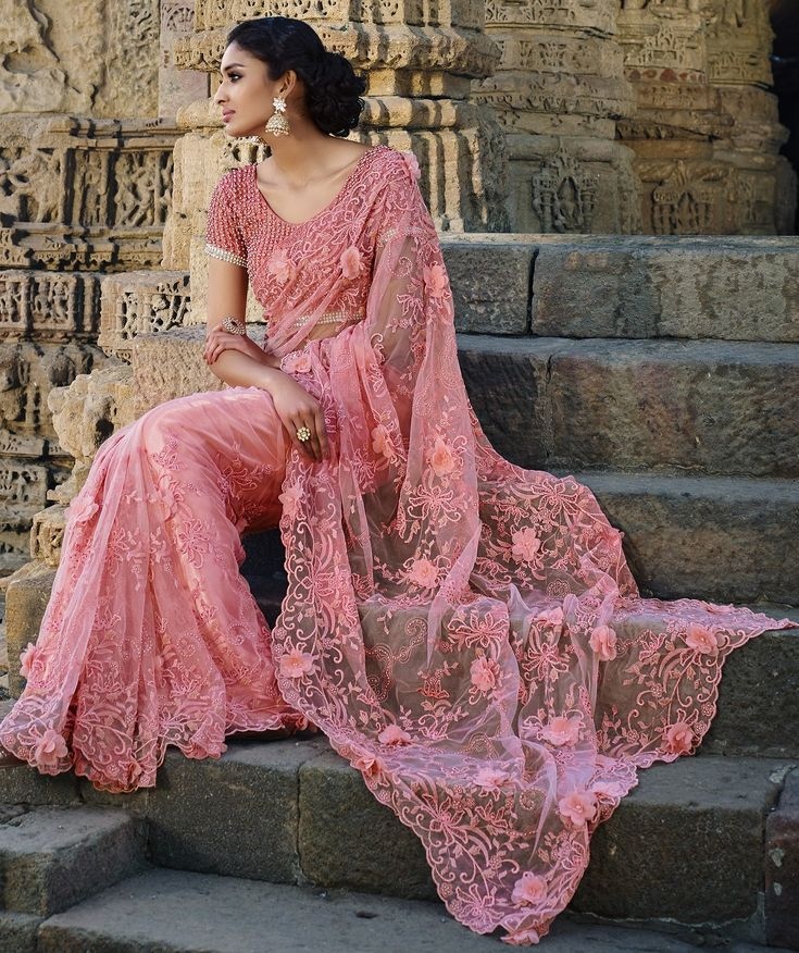 Designer Sarees online shopping in USA UK Canada|Buy Light Pink Netted Moti work Wedding saree