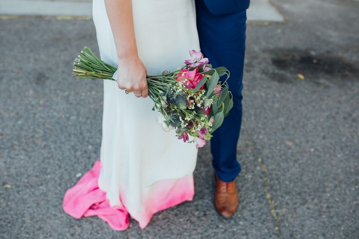 Dip dye pink wedding dress