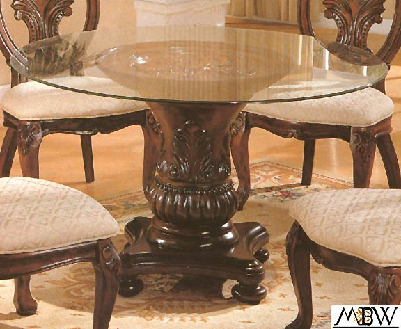 48 Inch Cherry Finish Carved Single Pedestal Base W Round Glass Top Dining TableGlass