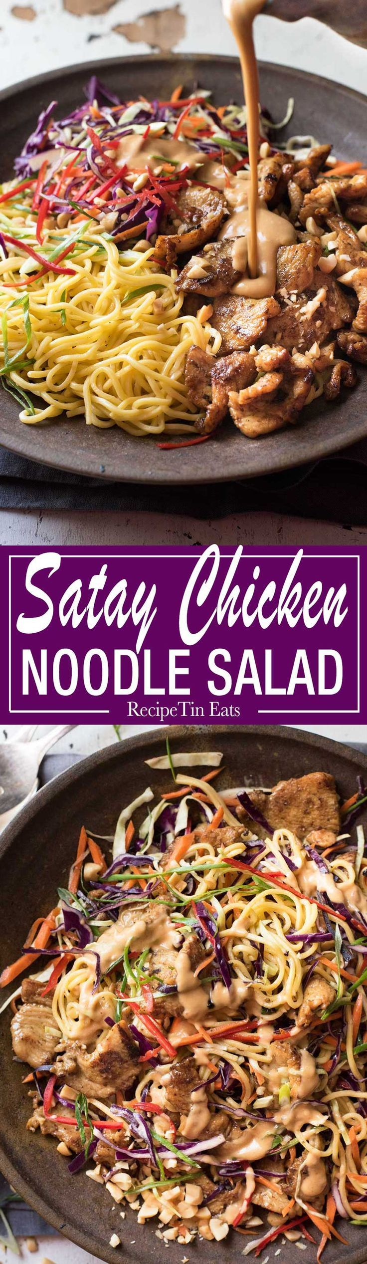 Satay chicken and rice noodles recipe