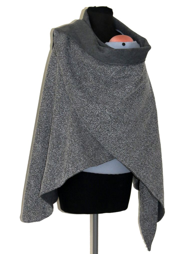 Babywearing Coat & Maternity Wrapping Poncho - Two Layers - REVERSIBLE - Gray Fleece and Black and White rayon - Ready To Ship. $69.99, via Etsy.
