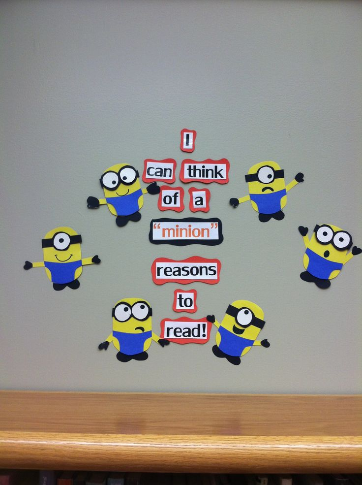 """I can think of a """"minion"""" reasons to read! Library bulletin board. Movie themed bulletin board. Despicable me bulletin board."""