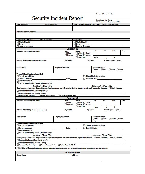 Security Incident Report Template Incident Report Security
