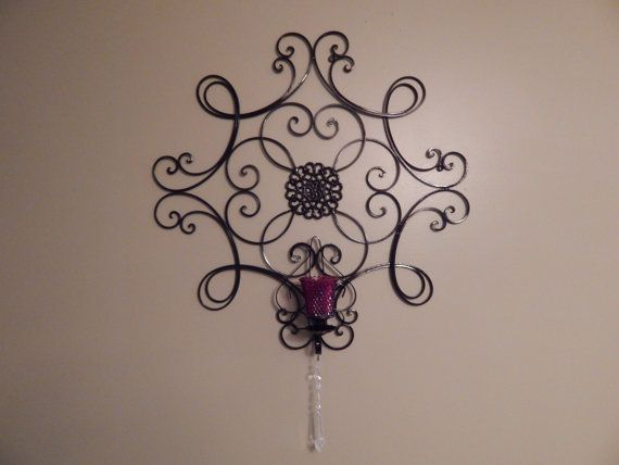 Handmade with vintage items lovely large indoor / outdoor candle sconce / wall decor / wrought iron scroll