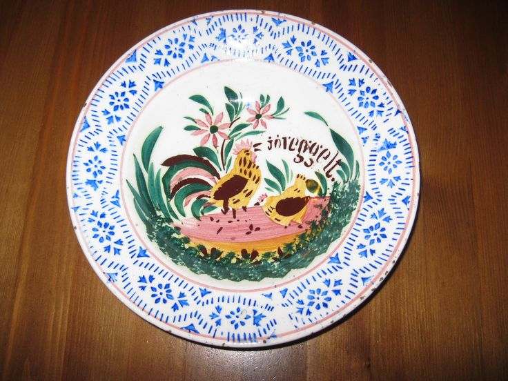 Antique hand painted Hungarian ceramic plate Hollohaza available at www.greatblouses.com
