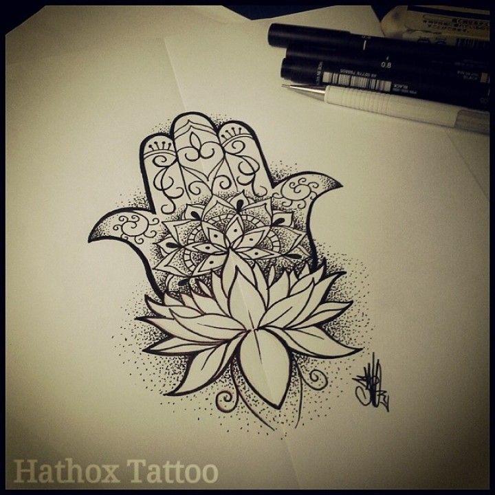 Resultado de imagen para hamsa lotus tattoo