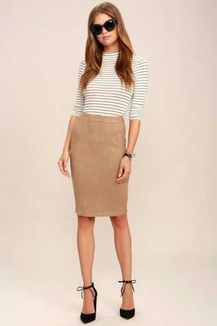 d6ace8d46 Superpower Tan Suede Pencil Skirt | Just My Style in 2019 | Suede ...