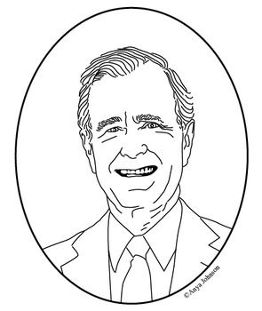 george h w bush 41st president clip art coloring page or mini poster