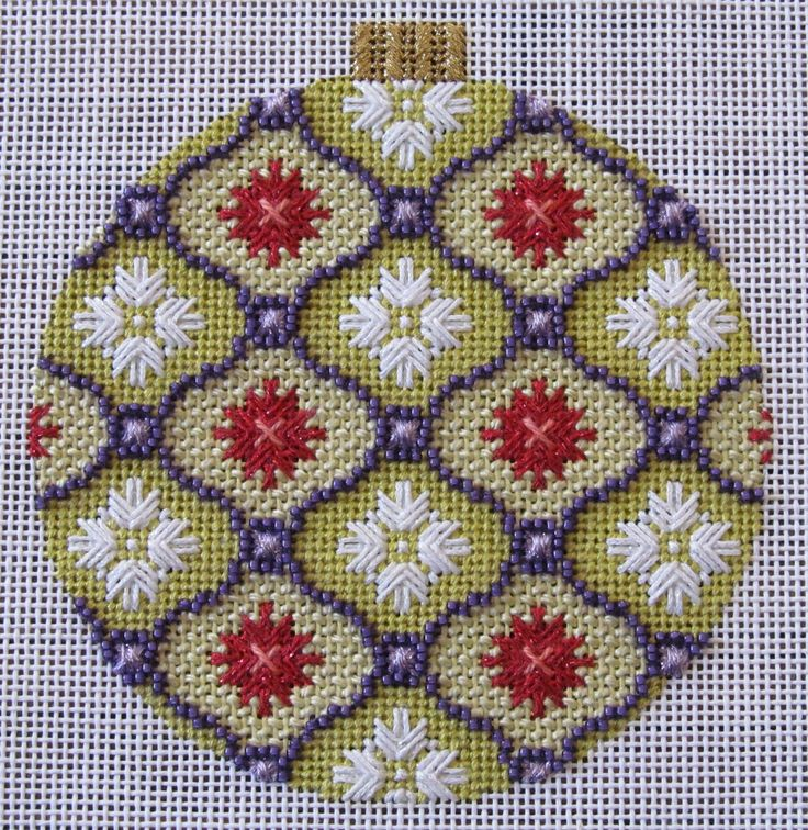 Gold and Purple Florentine Bauble needlepoint ornament. Stitched by Joan Lohr. Canvas by Kirk and Bradley.