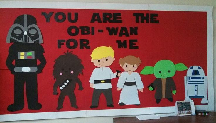 Star wars bulletin board. Not so cheesy... kids loved it!
