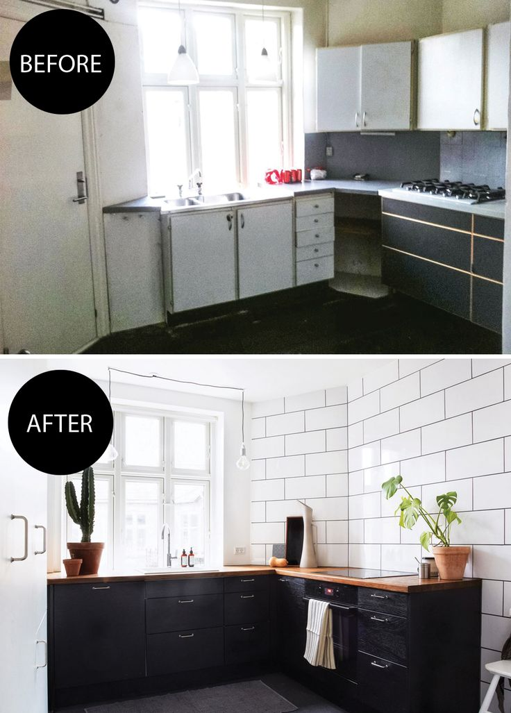 We love how this old kitchen was transformed on a budget into a modern and stylish space with black cabinets and white wall tiles.
