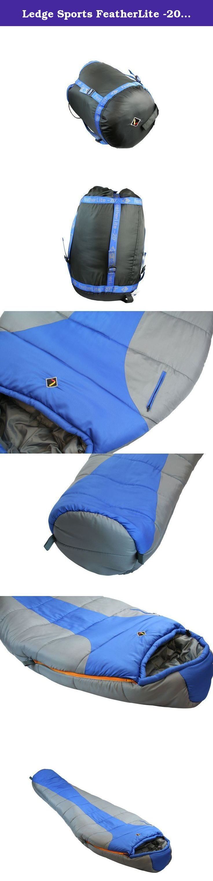 Ledge Sports FeatherLite -20 F Degree Ultra Light Design, Ultra Compact Sleeping Bag (84 X 32 X 20, Blue). Built for size and weight restrictions on extended journeys. The Featherlite is regular size with premium fill. Temperature rating is a guage for experienced users who understand proper equipment use. Unlike other Ledge classic and oversize bags it is not a comfort rating but a guide for use.
