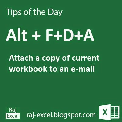 Microsoft Excel Short Cut Keys: Alt + FDA   Attach a copy of current workbook to default email as a attachment.