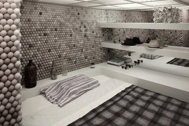 Apartment Designed with 25,000 Ping Pong Balls design by Daniel Arsham of Snarkitecture