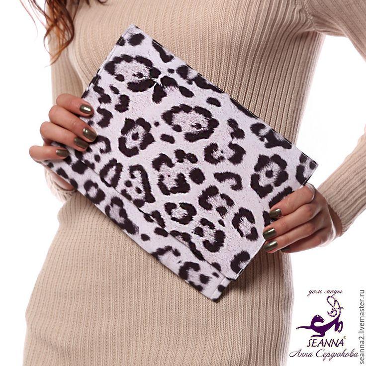 """Купить Клатч - сумочка из ткани с авторским принтом """"Снежный Барс"""" - клатч…"""