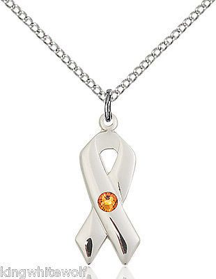 Cancer Awareness Ribbon November Topaz Birthstone Swarovski Crystal Necklace