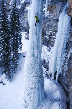 Ice climbing frozen waterfall