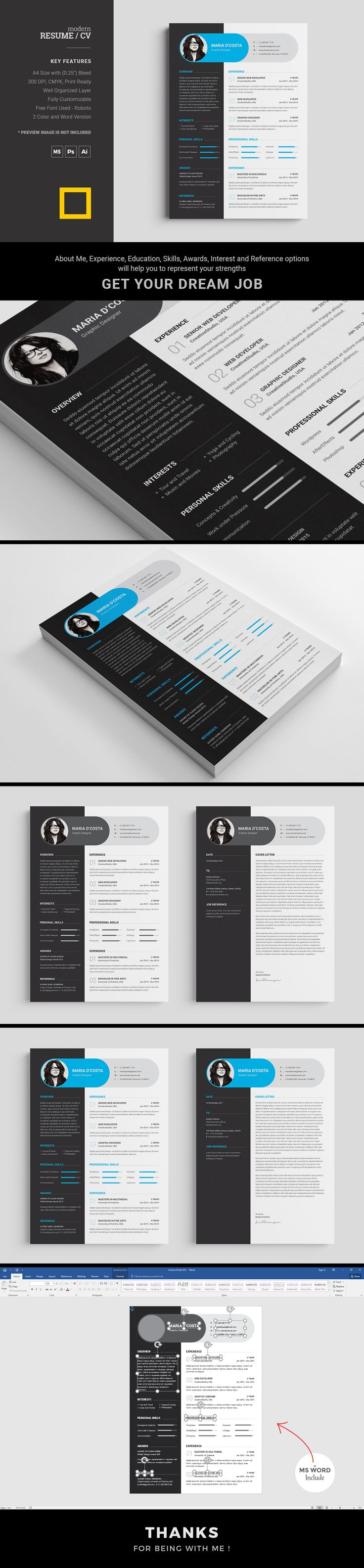Resume / CV template with very much modern and clean look. This minimal resume will help you to express your all the strengths in a creative way. This simple resume template you can use in any personal or corporate purpose. This CV template will provide you Photoshop, Illustrator and Popular MS Word versions for your easy customization.