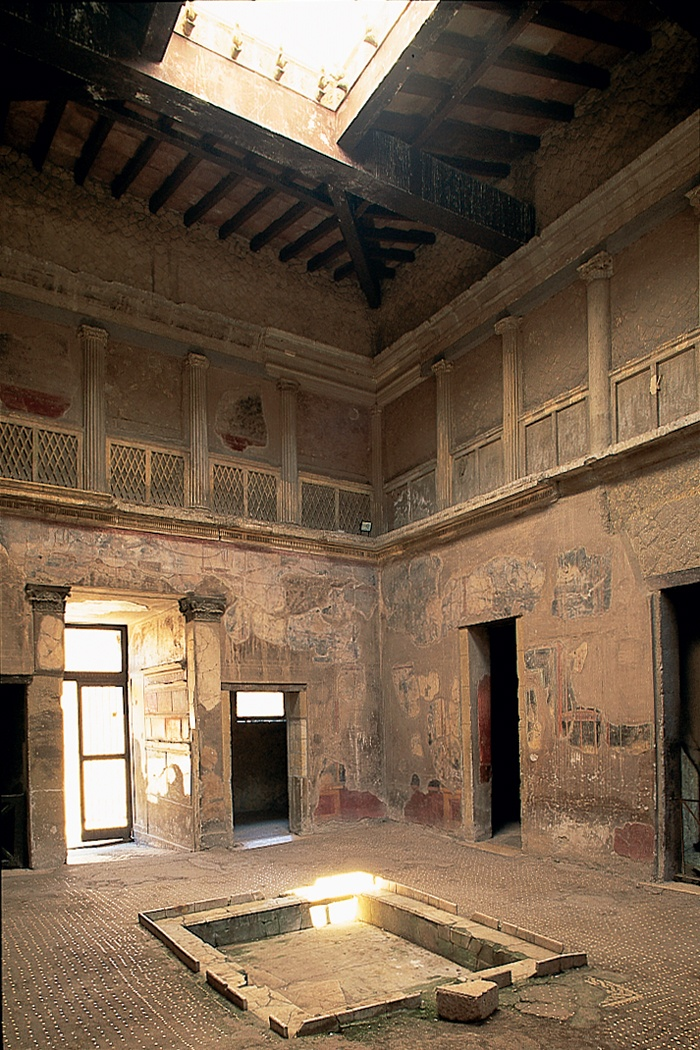 Ancient Rome. Well preserved Roman house at Herculaneum - 1st Century AD Casa Sannitica. Note the enclosed gallery above the atrium