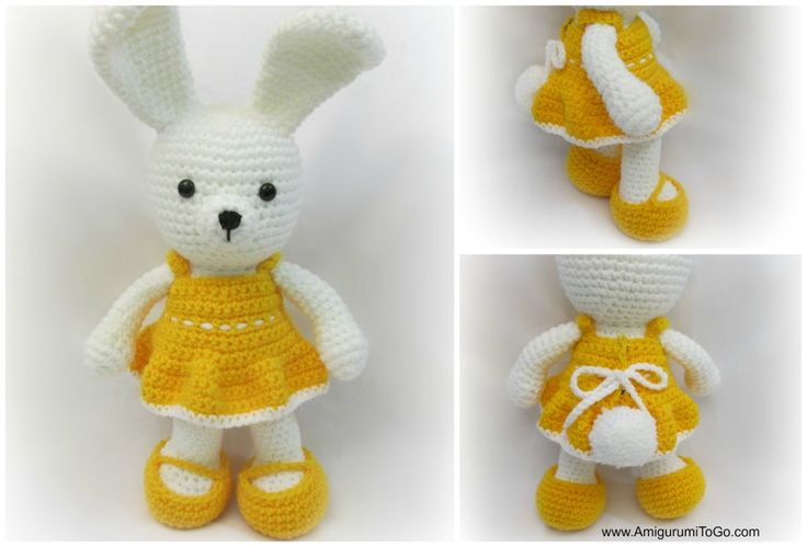 Dress Me Bunny is a modified version of my Valentine Bear . I decided to  put it all in one pattern for you then you can make the bunny...