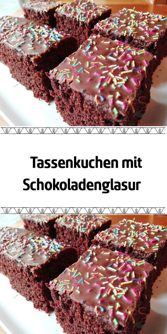 Tassenkuchen mit Schokoladenglasur  # Kuchen Kleingebäck