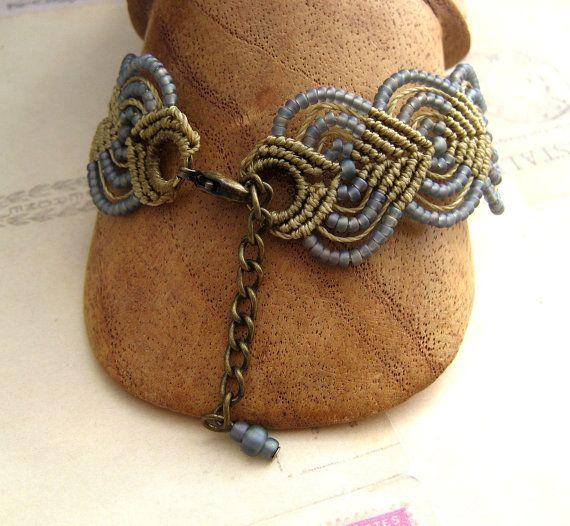 Celtic Knot Beaded Macrame Bracelet Silver Blue by KnotJustMacrame