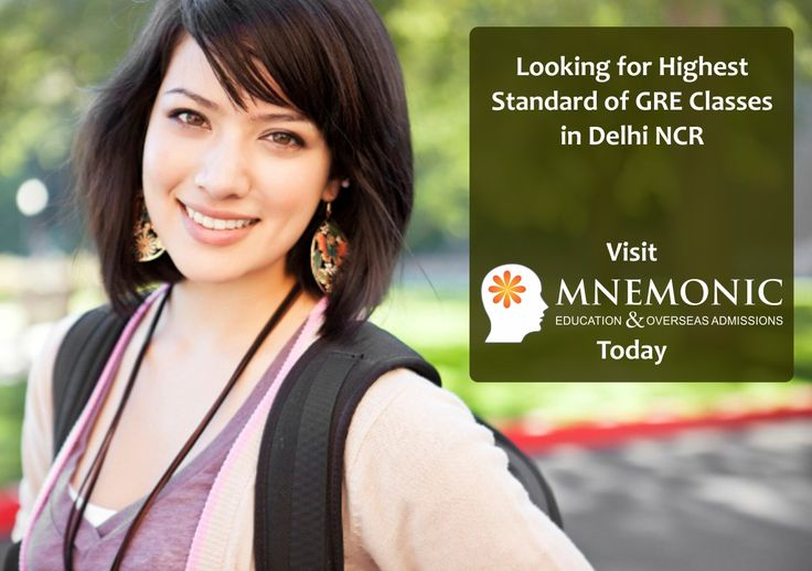 Get top quality of GRE Classes NCR Delhi at Mnemonic Education. It offers personalised small batches, e-learning modules, and unmatched standard of classroom experience. Call us to register now at Mnemonic.