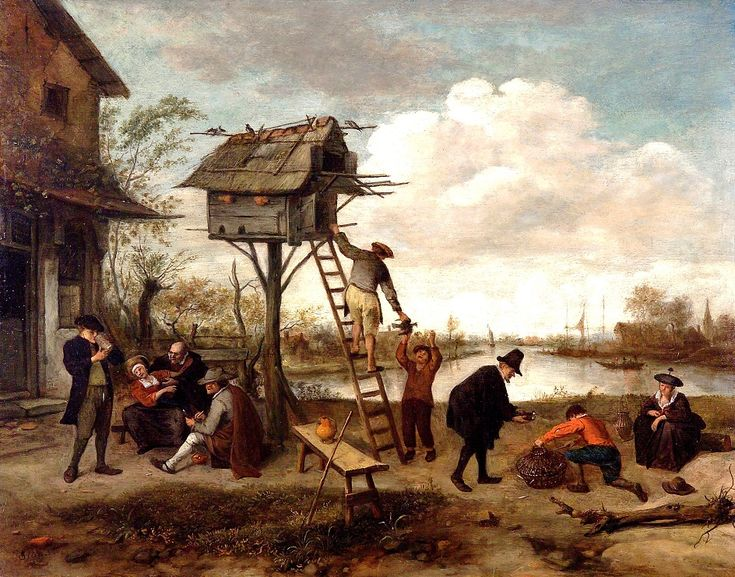 """The Dovecote"" by Jan Steen (1654) - ""This stand-alone dovecote presumably refers to the Dutch term ""duiven op zolder houden"" (""keep the pigeons in the attic""), which also means to ""keep a brothel."" Steen enjoyed ambiguous paintings, so perhaps the building on the left is a brothel, with a nearby beer drinker & a young woman being ""courted"" by an older man."""